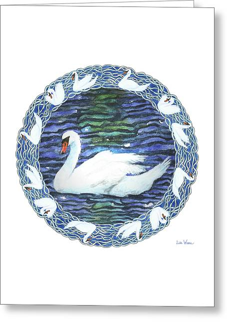 Greeting Card featuring the painting Swan With Knotted Border by Lise Winne