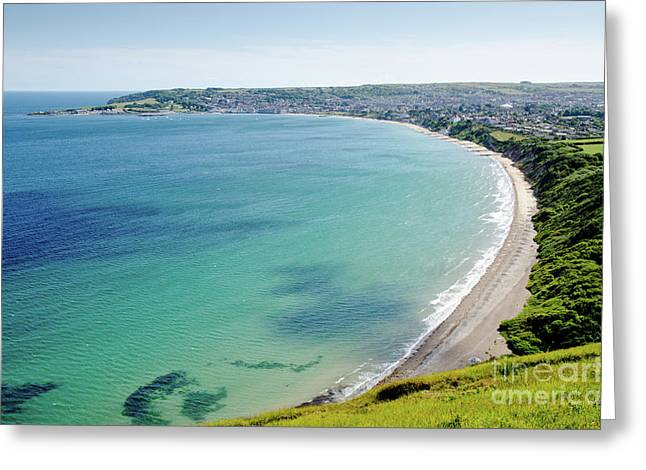 Swanage Blue The Clear Waters Of Swanage Bay In Dorset England Uk Greeting Card by Andy Smy