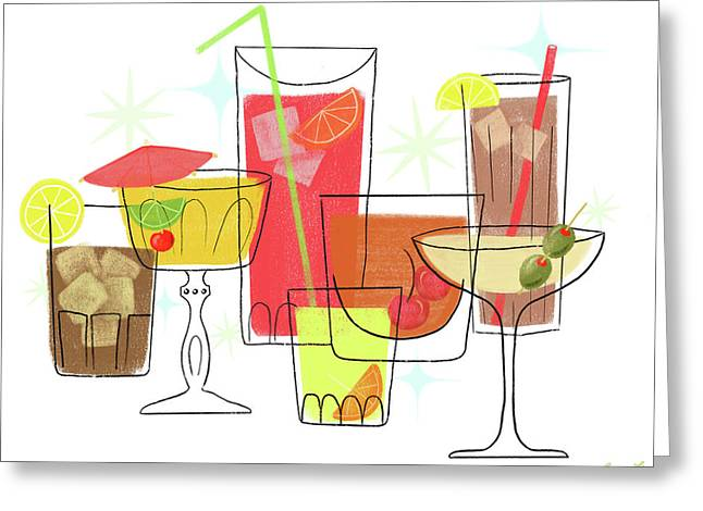 Swanky Summer Coolers Greeting Card by Little Bunny Sunshine