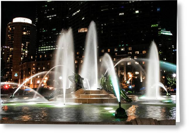 Swann Fountain In The Night - Philadelphia Greeting Card