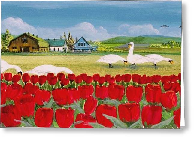 Snow Geese Paintings Greeting Cards - Swans and Tulips Greeting Card by Bob Patterson