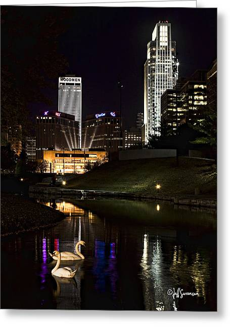 Swans At Night Greeting Card