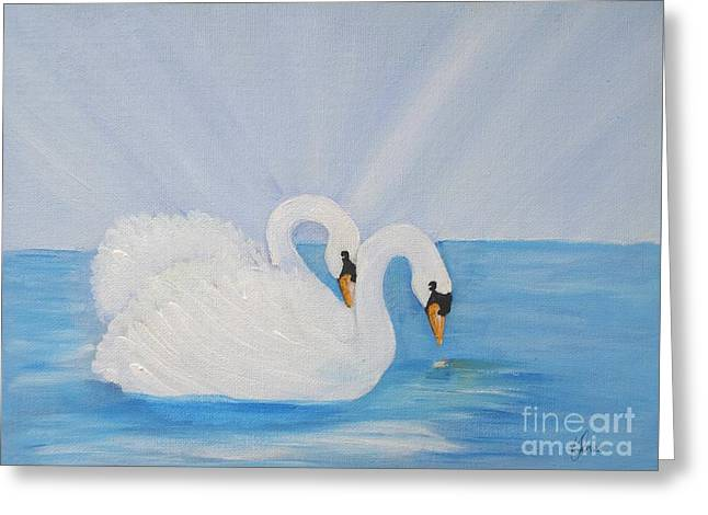 Swans On Open Water Greeting Card