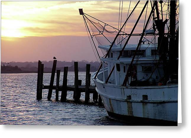 Swansboro Shrimper Greeting Card by Alan Hausenflock