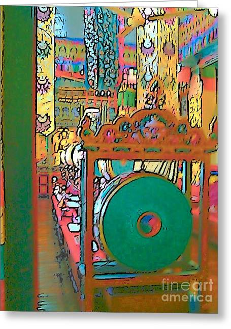 Swayambhunath Greeting Card by Lisa Dunn