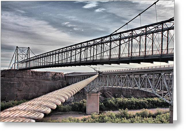 Greeting Card featuring the photograph Swayback Suspension Bridge by Farol Tomson