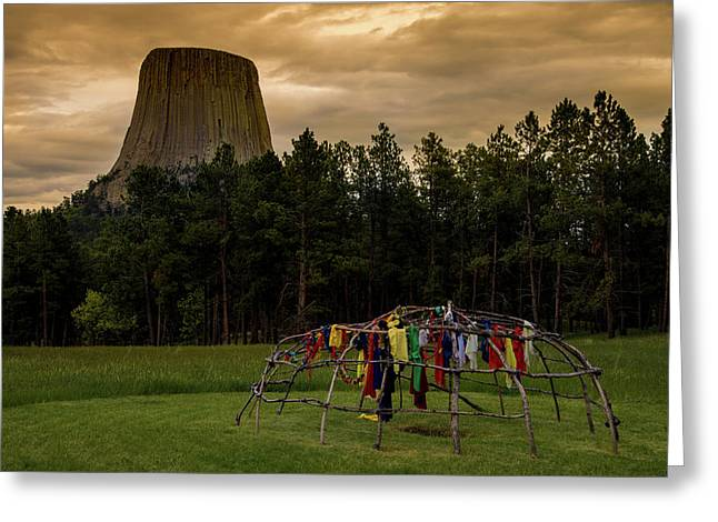 Greeting Card featuring the photograph Sweat Lodge At Devil's Tower by Gary Lengyel