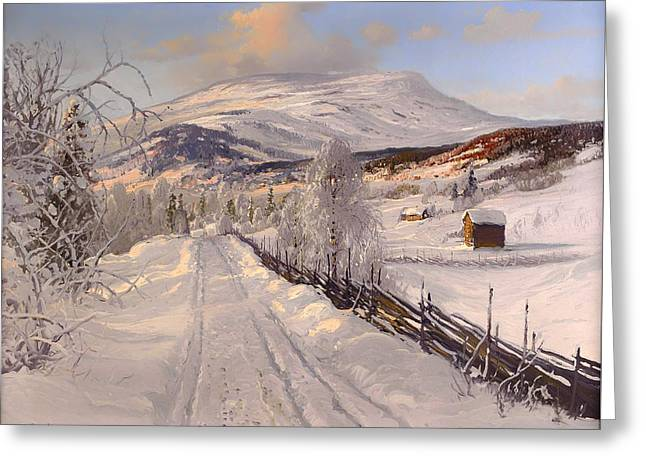 Swedish Winter Landscape Greeting Card by Mountain Dreams