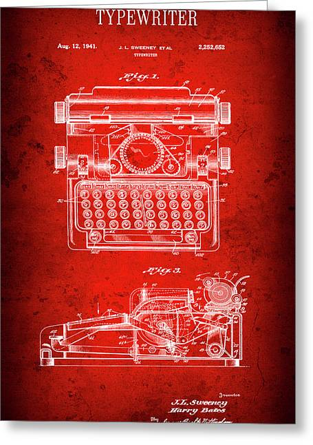 Sweeney Typewriter Patent  1941 Greeting Card by Daniel Hagerman
