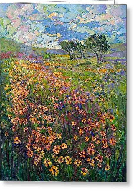 Greeting Card featuring the painting Sweep Of Wildflowers by Erin Hanson