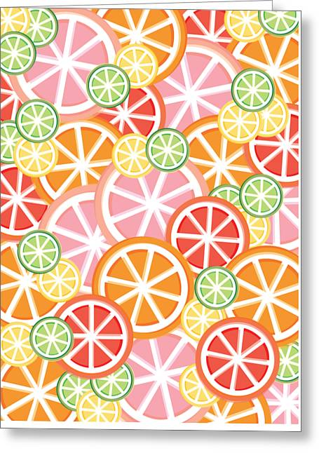 Sweet And Sour Citrus Print Greeting Card by Lauren Amelia Hughes