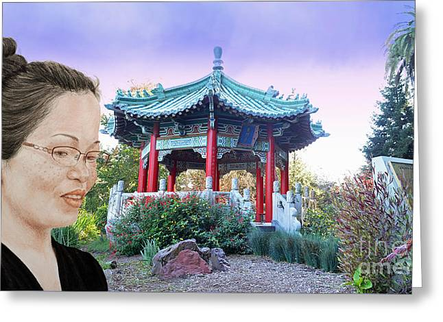 Sweet Asian Woman By The Pagoda In Golden Gate Park  Greeting Card by Jim Fitzpatrick