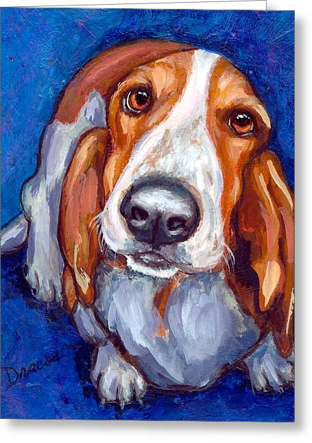 Sweet Basset Looking Up On Blue Greeting Card by Dottie Dracos