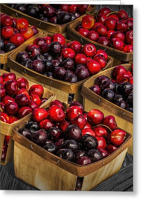 Sweet Cherries From A Cherry Orchard At The Cherry Point Farm Market Greeting Card