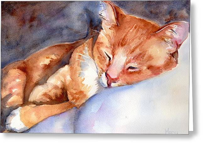 Sweet Deams Greeting Card by Maria's Watercolor