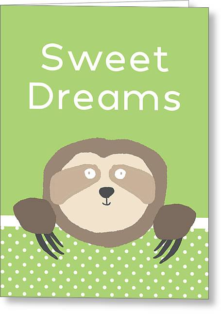 Sweet Dreams Sloth Green- Art By Linda Woods Greeting Card