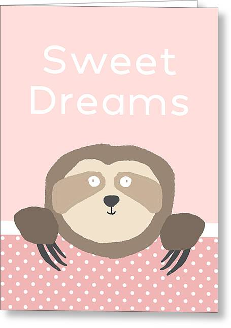 Sweet Dreams Sloth Pink- Art By Linda Woods Greeting Card