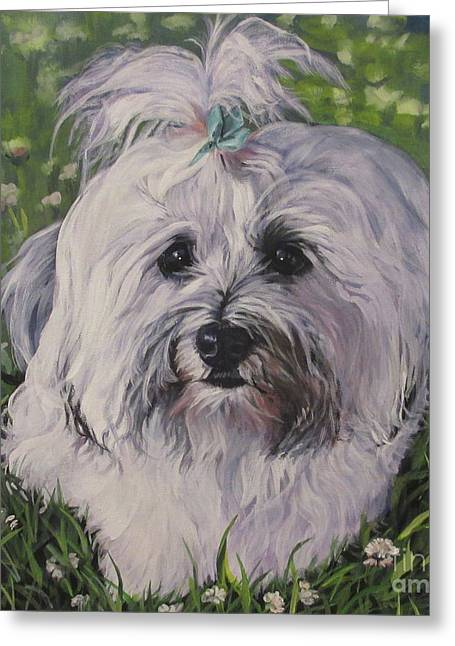 Greeting Card featuring the painting Sweet Havanese Dog by Lee Ann Shepard