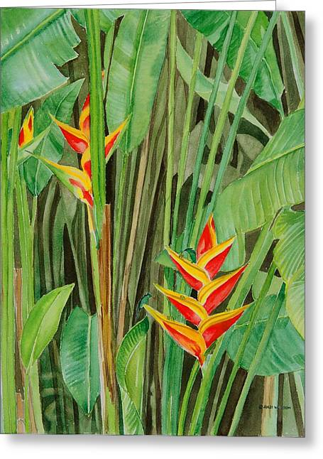 Sweet Heliconias Greeting Card by Anji Worton