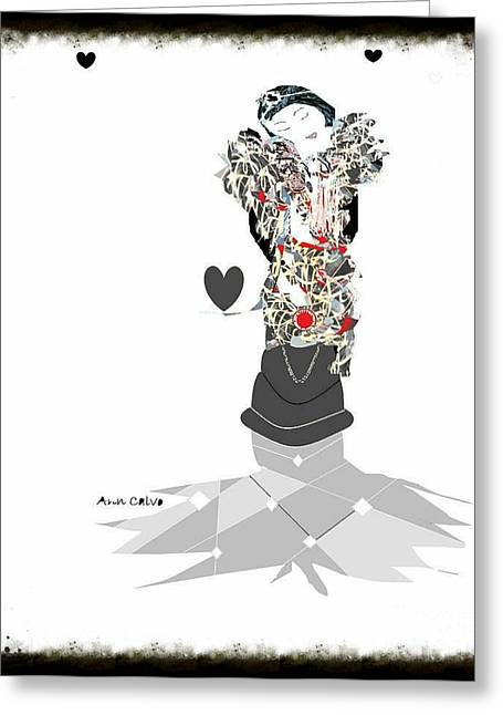 Greeting Card featuring the mixed media Sweet Lady 7 by Ann Calvo