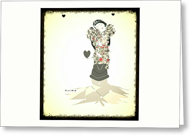 Greeting Card featuring the mixed media Sweet Lady 8 by Ann Calvo