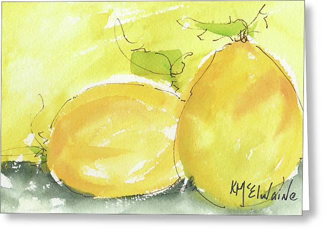 Sweet Lemon Watercolor Painting By Kmcelwaine Greeting Card by Kathleen McElwaine