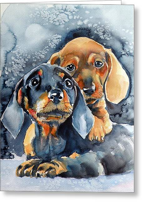 Sweet Little Dogs Greeting Card