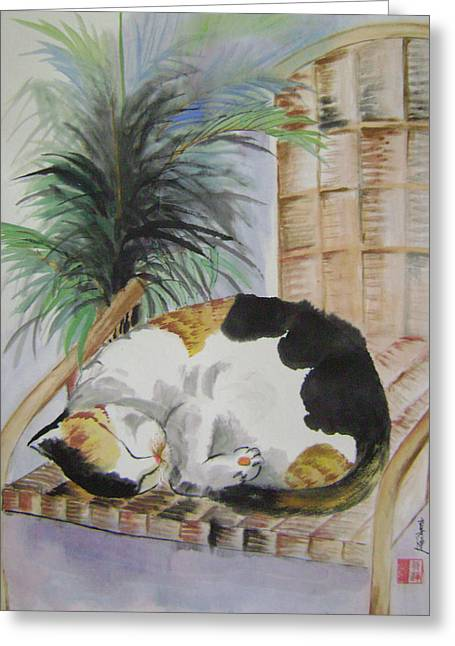 Sweet Nap Greeting Card by Lian Zhen