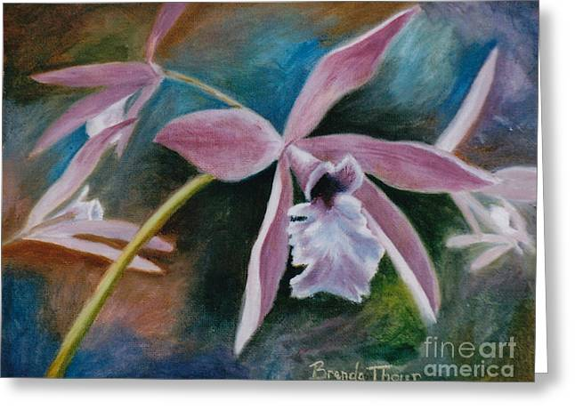 Greeting Card featuring the painting Sweet Orchid by Brenda Thour
