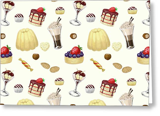 Sweet Pattern With Various Desserts. Greeting Card by Katerina Kirilova