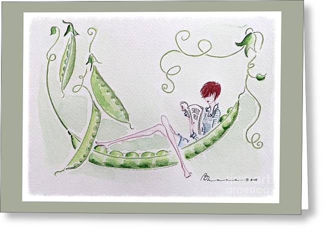 Sweet Pea Greeting Card by Barbara Chase
