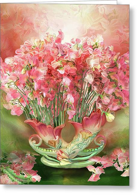 Sweet Peas In Sweet Pea Vase 2 Greeting Card by Carol Cavalaris