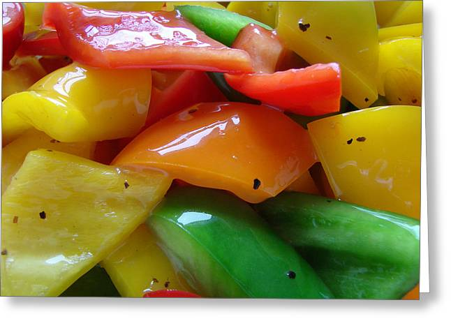 Sweet Peppers Greeting Card by Jana Russon