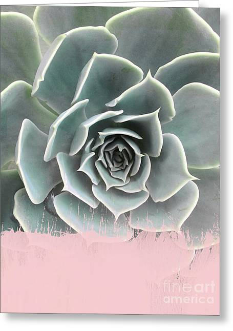 Sweet Pink Paint On Succulent Greeting Card