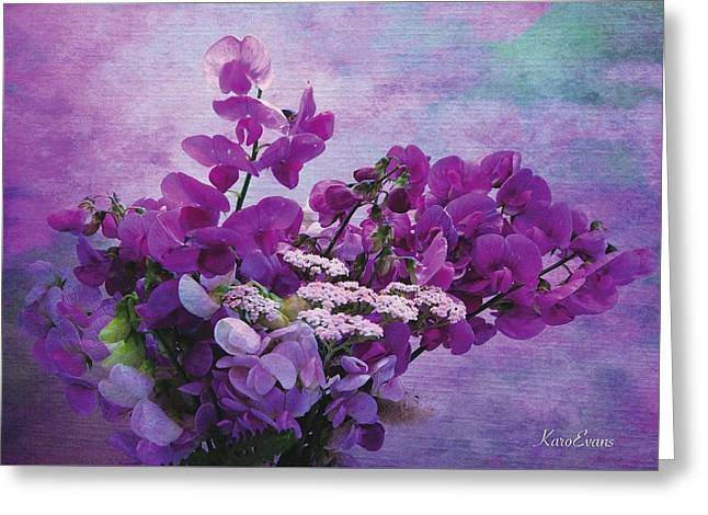 Greeting Card featuring the photograph Sweet Purple Bouquet by Karo Evans