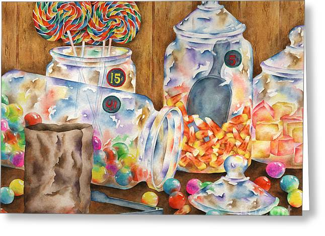 Candy Jar Greeting Cards - Sweet Stuff Greeting Card by Michelle Carrick