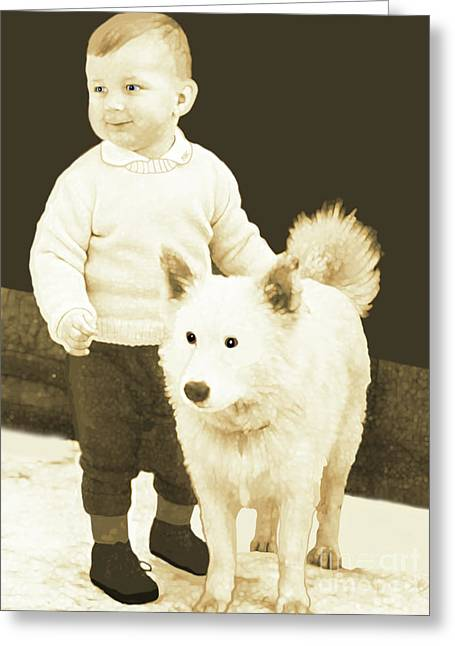 Sweet Vintage Toddler With His White Mutt Greeting Card