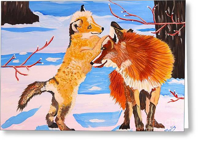 Sweet Vixen And Kit Foxes Greeting Card
