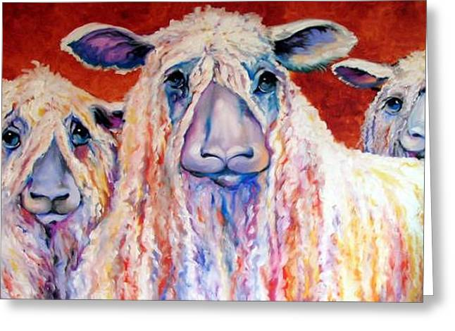 Sweet Wensleydales Sheep By M Baldwin Greeting Card by Marcia Baldwin