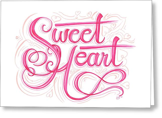 Greeting Card featuring the drawing Sweetheart by Cindy Garber Iverson
