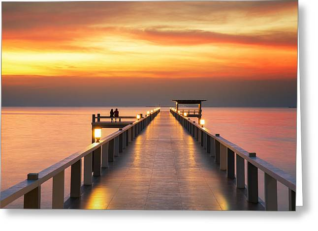 Sweetheart On Wooded Bridge With Sunset Greeting Card