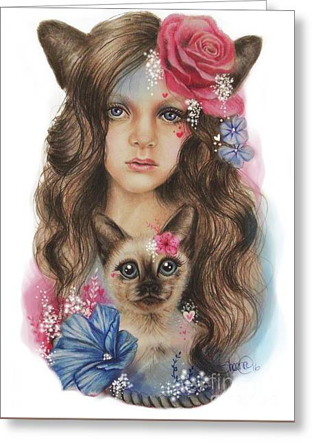 Greeting Card featuring the mixed media Sweetheart by Sheena Pike