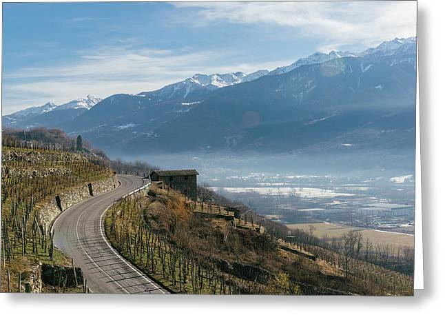 Swerving Road In Valtellina, Italy Greeting Card