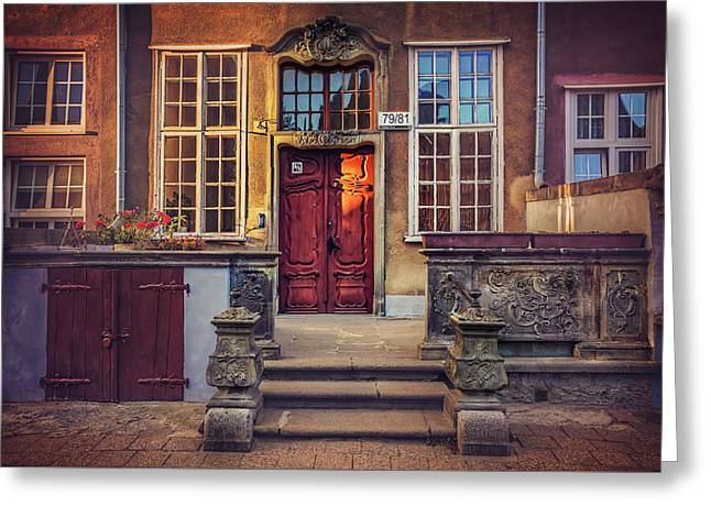 Swietego Ducha Street In Gdansk  Greeting Card by Carol Japp