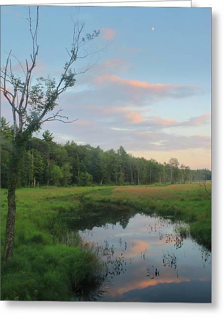 Swift River Sunset Greeting Card by John Burk