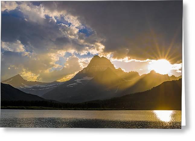 Swiftcurrent Lake Sundown Glacier N P Greeting Card by Steve Gadomski