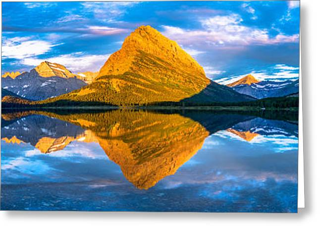 Swiftcurrent Lake Sunrise Panorama Greeting Card