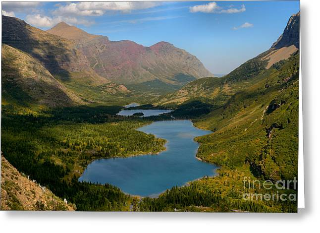 Swiftcurrent Lakes Of Many Glacier Greeting Card by Adam Jewell