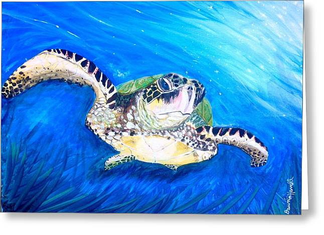 Greeting Card featuring the painting Swim by Dawn Harrell