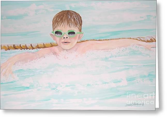 Swim Meet Greeting Card by Janna Columbus